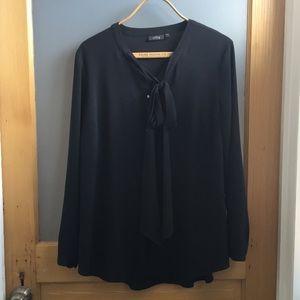 Apt 9 1X black sophisticated secretary blouse